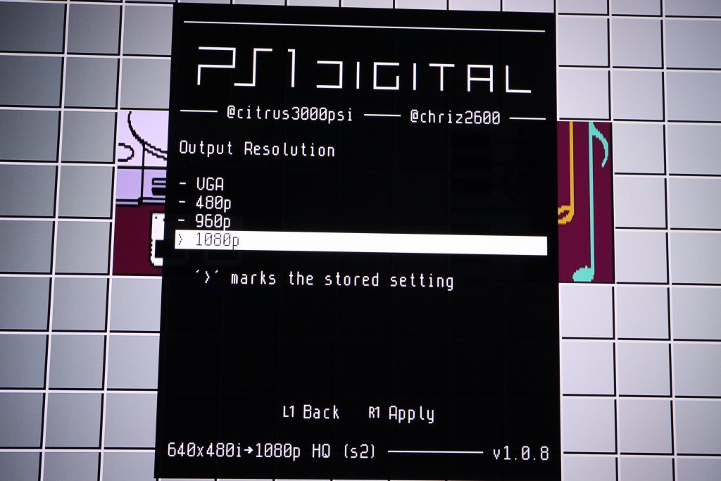 PS1Digital output resolution